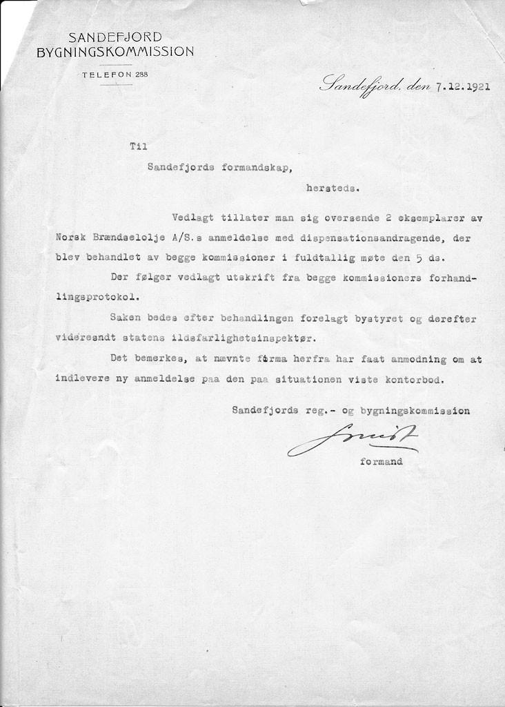 Bilde av Søknad 7.12.1921