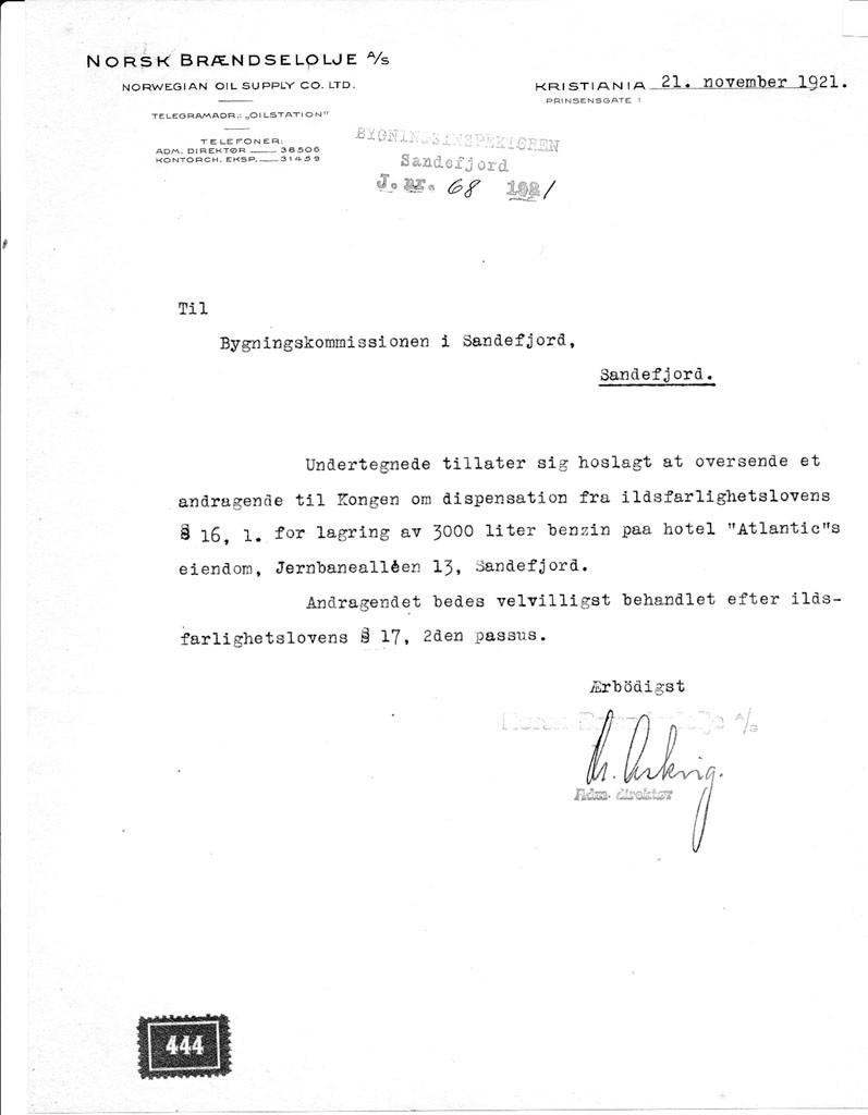 Bilde av Søknad 21.10.1921