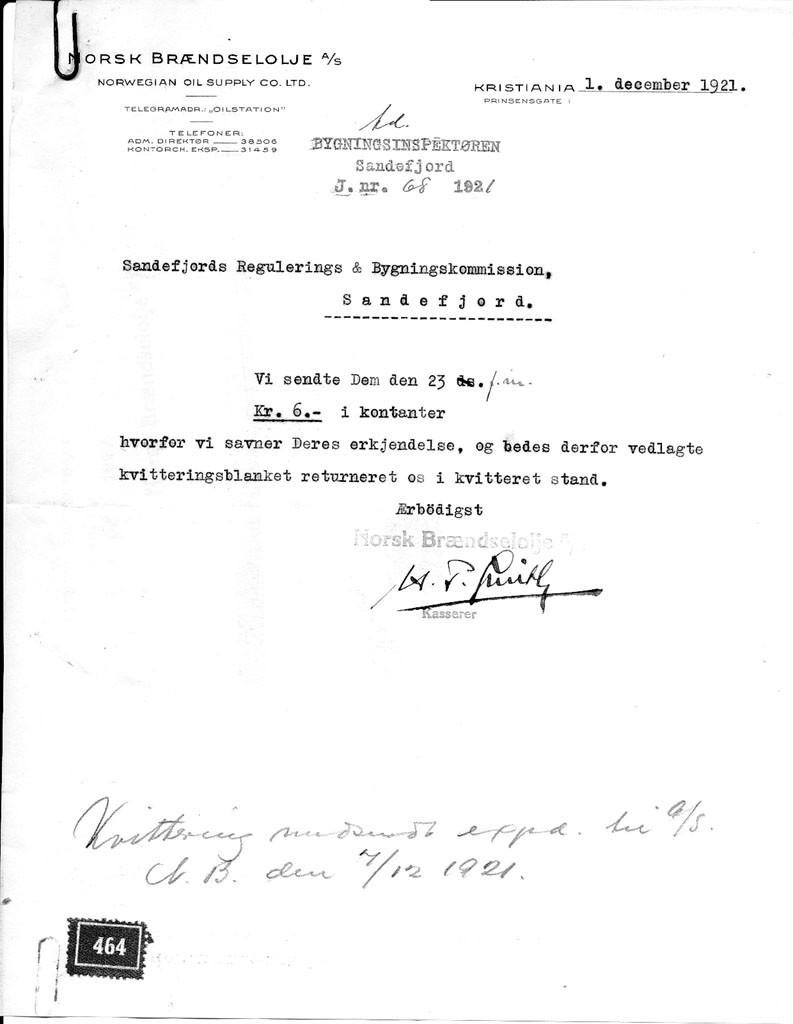 Bilde av Søknad 1.12.1921