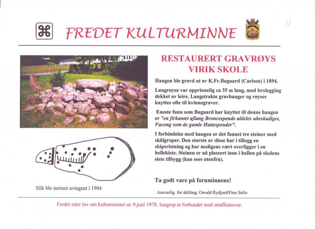 Bilde av Gravrøys ved Virik Skole.