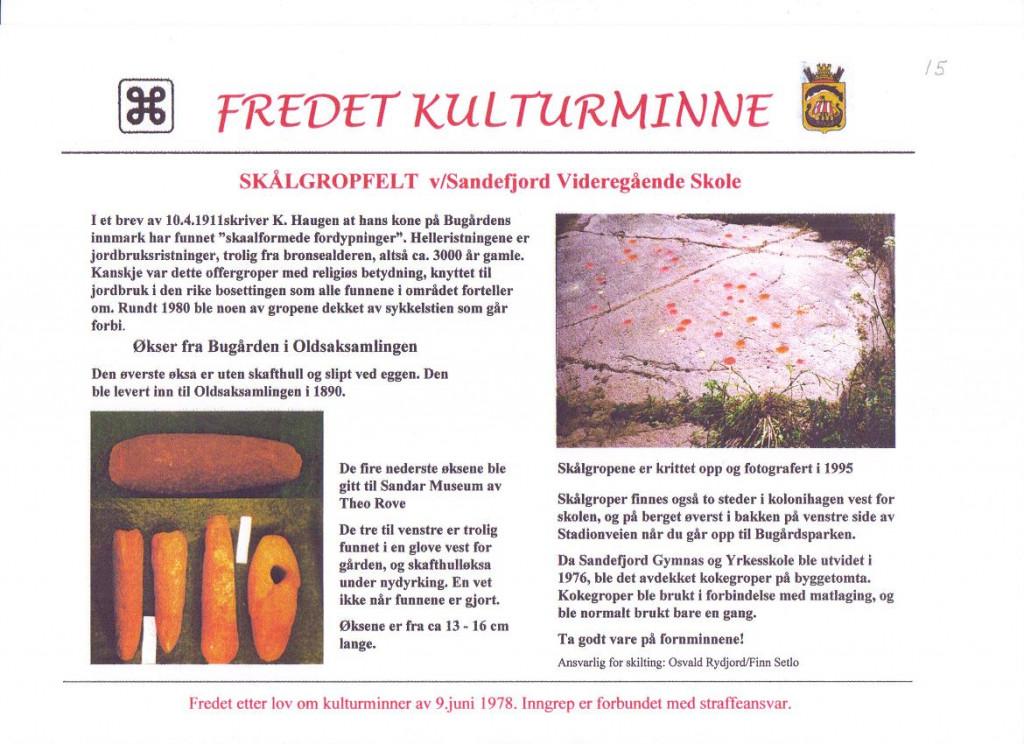 Bilde av Stålgropfelt og økser fra Bugården.