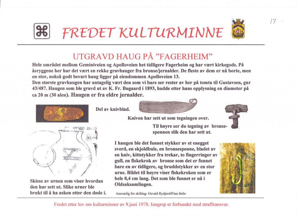 Bilde av Gravhaug på Fagerheim.