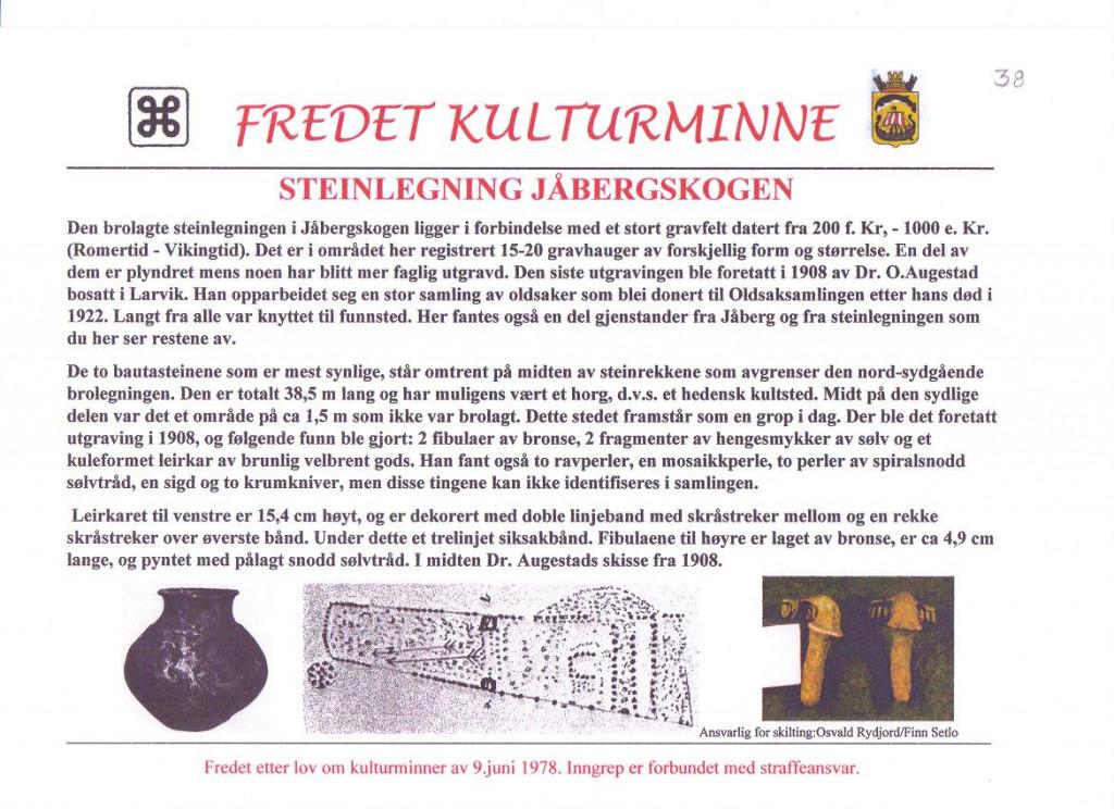 Bilde av Steinleging  i Jåbergskogen.