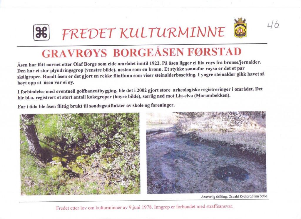 Bilde av Gravrøys på  Borgeåsen i Førstad.