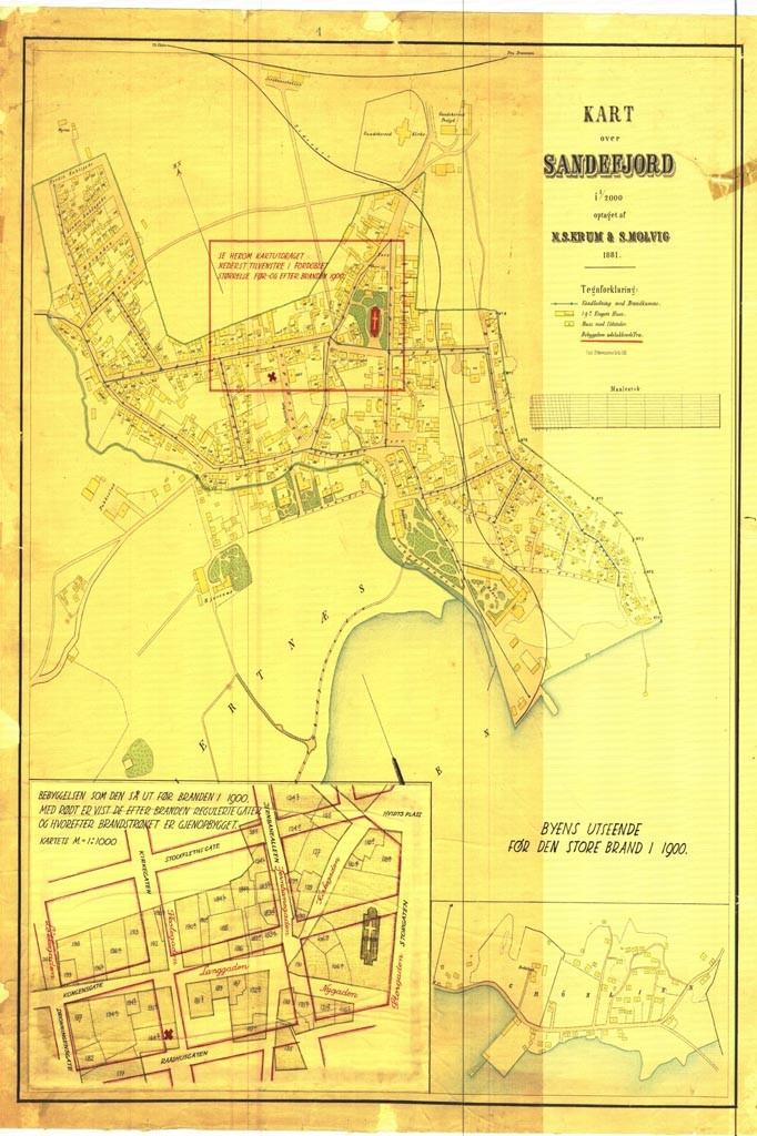 Bilde av Sandefjord sentrum 1881