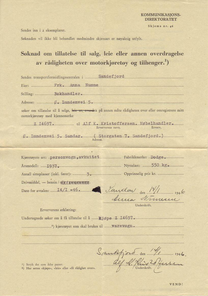 Bilde av Søknad om tillatelse til salg av bil fra 1946