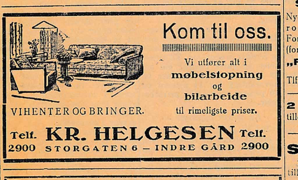 Bilde av Annonse fra  Kr. Helgesen