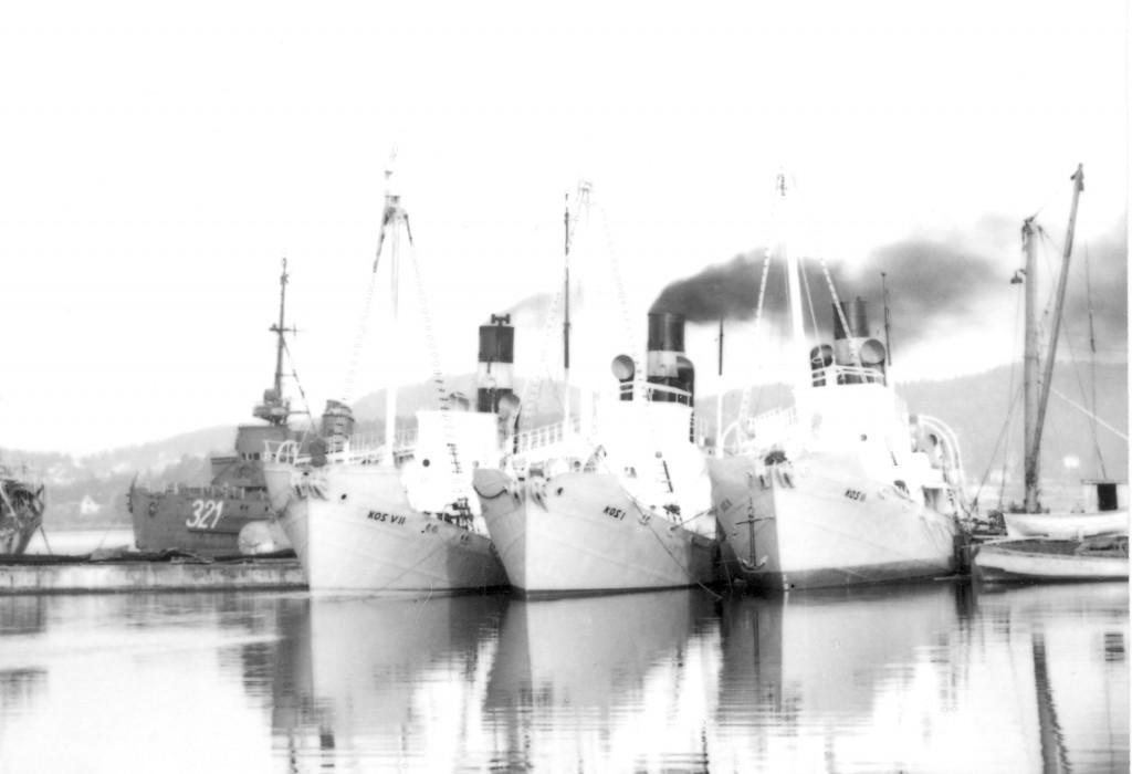 Bilde av KOS-båter samlet på Mågerø Værft