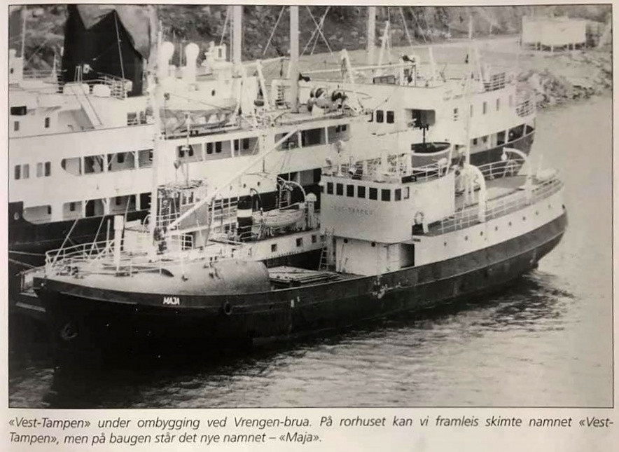 Bilde av DS/HVB SAIMA som MAJA i 1983. Bilde fra Boken «Snurperar