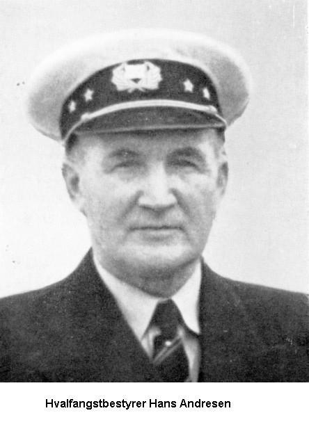 Bilde av KOSMOS første kaptein og bestyrer. Hans Andresen, Sandefjord
